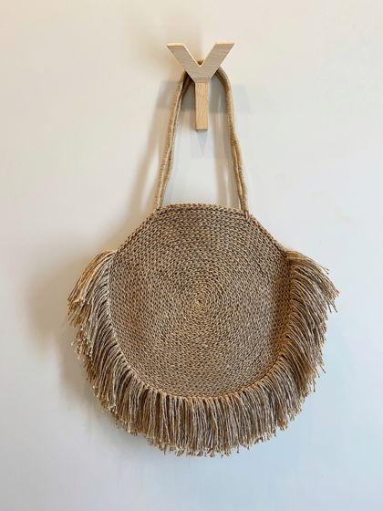 Пляжная круглая сумка из джута