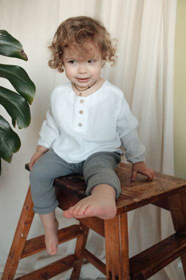 Детская рубашка унисекс из муслина на кокосовых пуговках