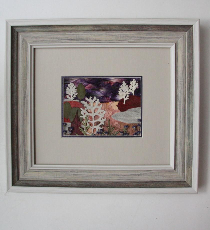 "Картина  в технике Ошибана ""Пейзаж с лавандой"""