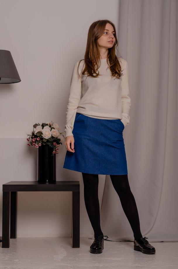 Джинсовая юбка-мини А-силуэта