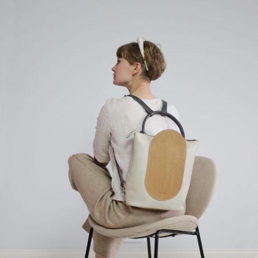 Кожаный рюкзак-сумка Arc Cream/Nude