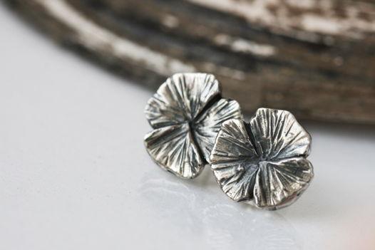 Серьги клевер, серебро с чернением