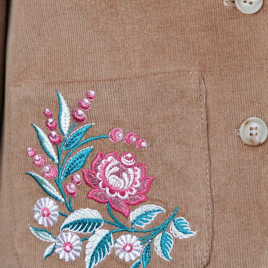 Вельветовый жакет песочного цвета с вышивкой  TASHA SAND