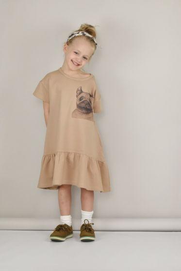 Платье с авторским принтом «Мопс»