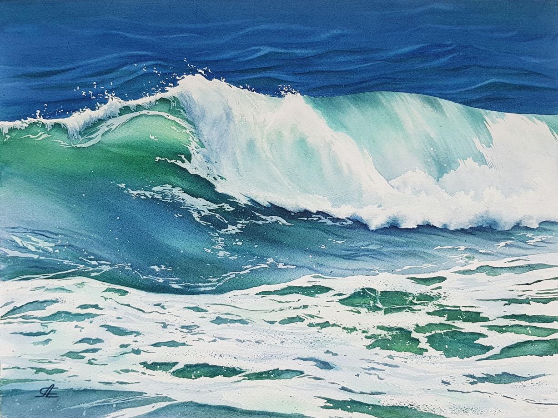 """Акварельная картина """"Волны"""" (38 х 28 см)"""