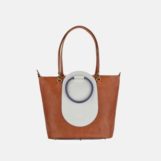 Кожаная сумка Arc Copper/Pearl
