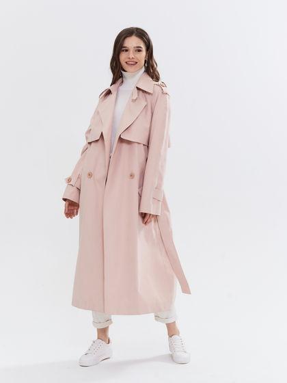 плащ тренчкот пудровый розовый