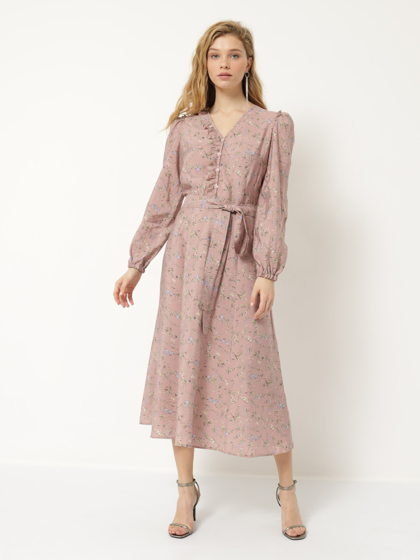 Платье А-силуэта розовое в цветочек