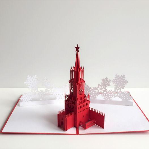 Спасская башня Москва 3D открытка ручной работы