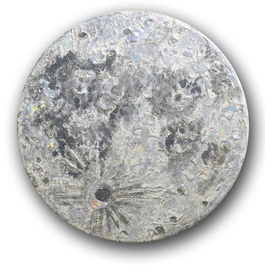 Картина Луна акрилом с голографической поталью