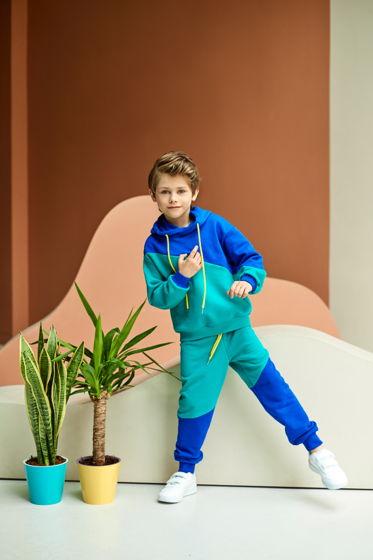 Спортивный костюм из футера цвета изумруд/индиго для мальчика Ray