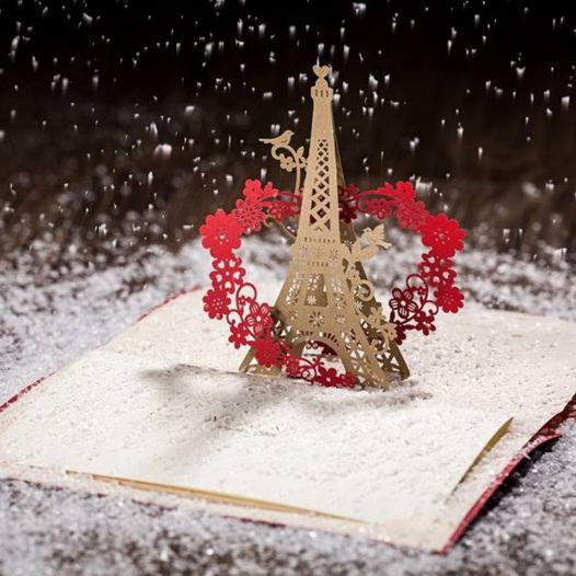 Романтический Париж 3D открытка ручной работы