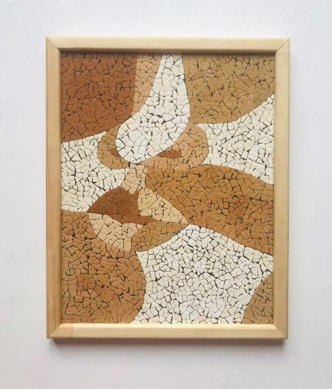"""Картина 19*24 см """"Лицо""""  ручной работы из яичной скорлупы натуральных оттенков"""