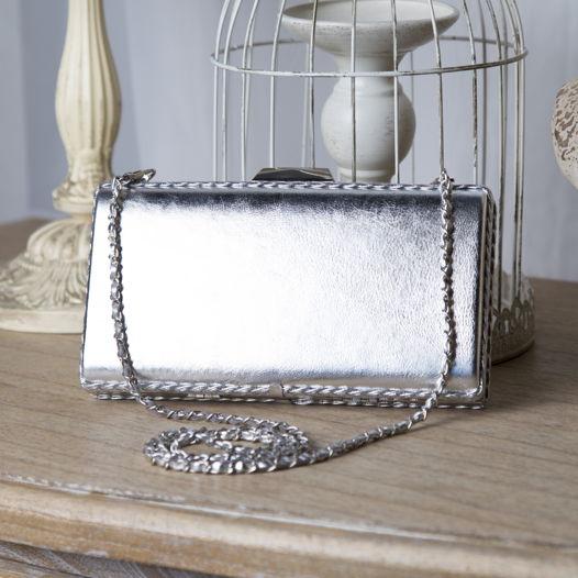 Клатч серебряный из натуральной кожи Silver Basic