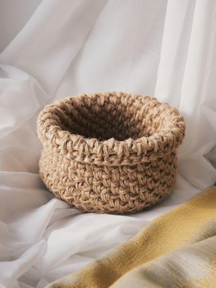 Малая корзинка «мешочек» из джута с подворотом