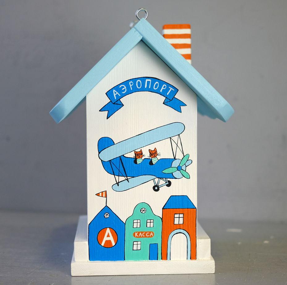 "Кормушка-аэропорт синяя. Набор ""сделай сам"" с контурами рисунка"
