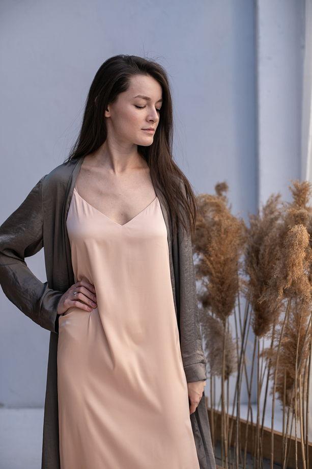 Платье-комбинация, цвет абрикос