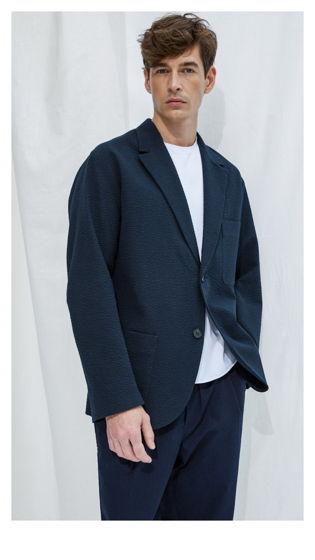 Пиджак #1 – фактурный синий хлопок