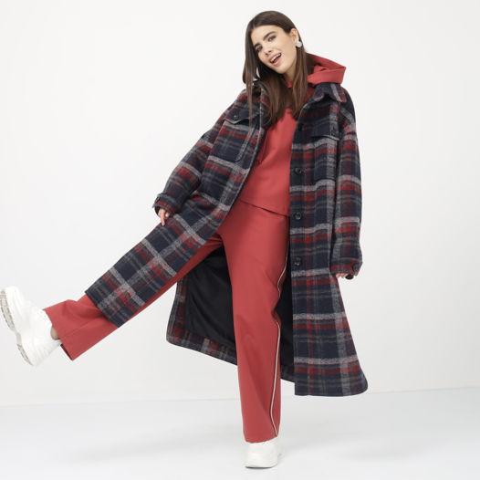 Пальто-рубашка в клетку зимнее (на утеплителе)