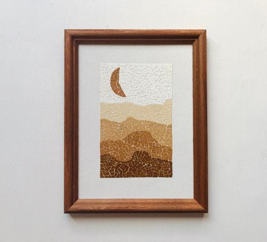 """Картина 15*20 см """"Лунные барханы"""" ручной работы из яичной скорлупы натуральных оттенков"""