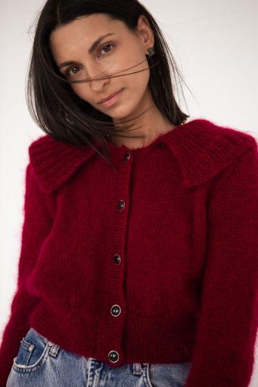 Бордовый кардиган из шерсти и мохера с рукавами-воланами