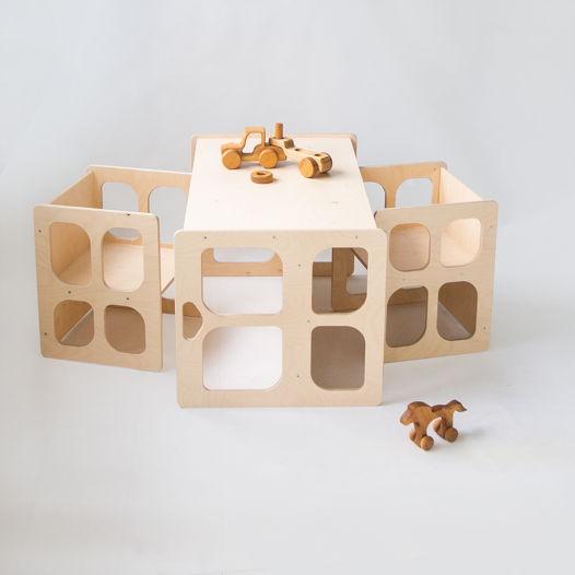 Комплект деревянной детской мебели Монтессори Киддис стол и два стула, трансформер, цвет натуральное дерево