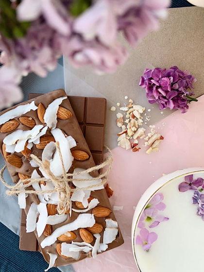 «Плитка» ручной работы без сахара с кокосом и миндалем