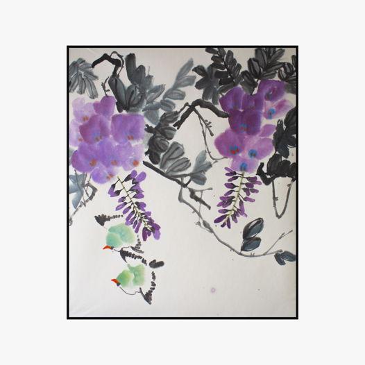 """""""Зеленые птицы в ветвях глицинии"""", картина в традиционном китайском стиле се-и   (61 * 70 см)"""