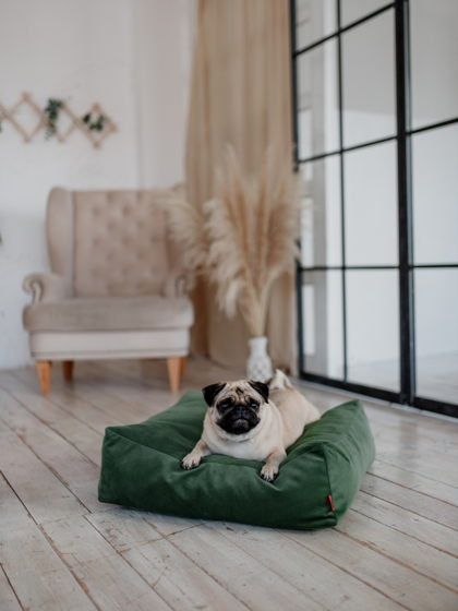 Лежанка-подушка COCCON |  60x60 | Зеленый атлас — GREEN SATIN