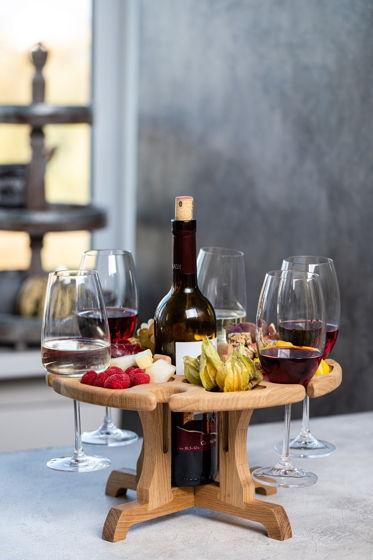 """Винный столик на шесть бокалов, местом для бутылки. Цвет """"натуральный дуб"""""""