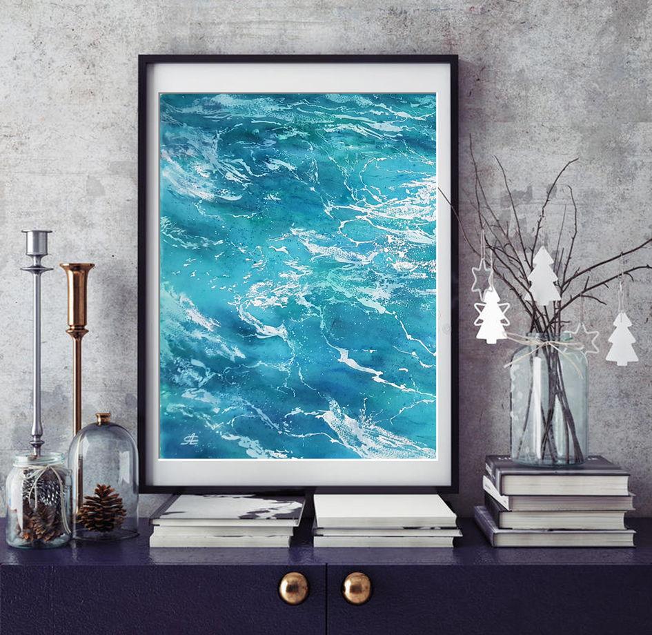 """Акварельная картина """"Морская вода 1"""" (28 х 38 см)"""