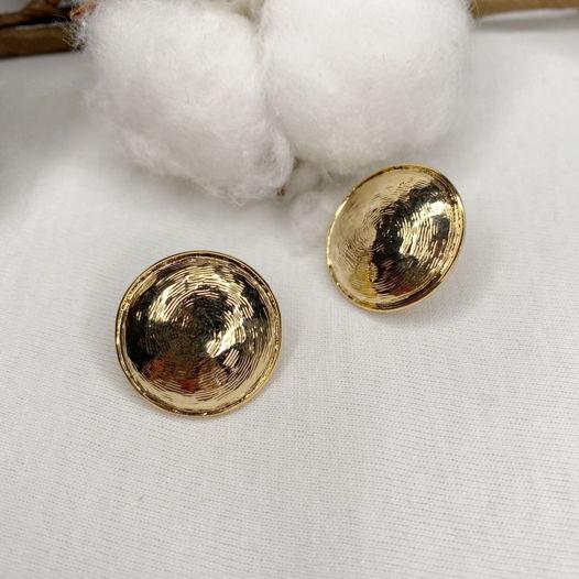 Серьги круглые рифленые позолота