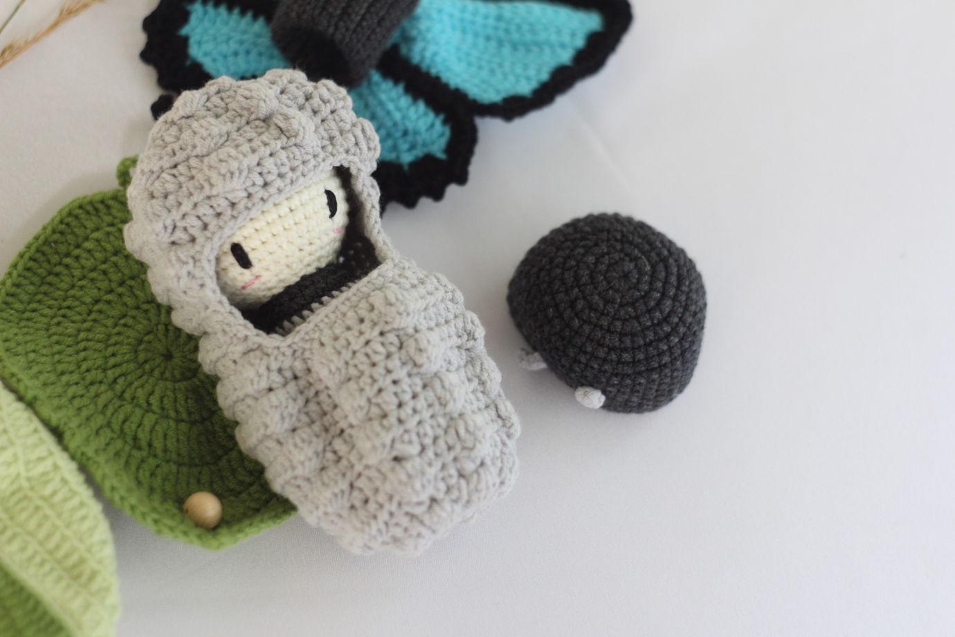 Вязаный развивающий набор - Жизненный цикл бабочки. Парусник Улисс