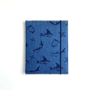 Блокнот ручной работы, принт акулы на джинсе, с винными листами
