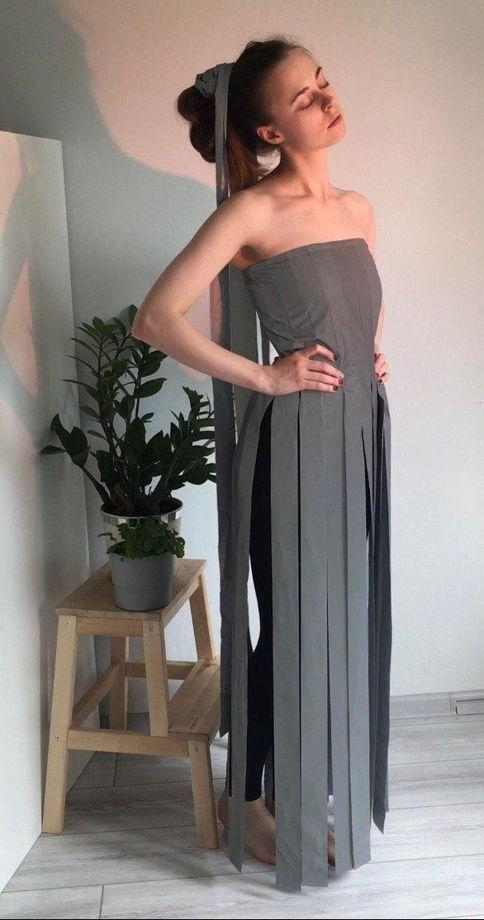Платье-корсет из светоотражающей ленты
