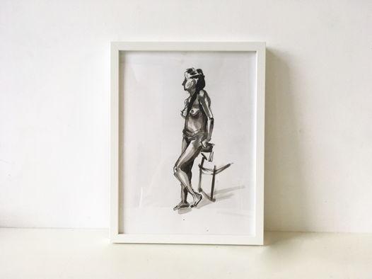 'Nude n1' - композиция тушью 30x40