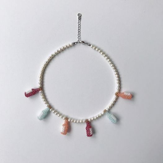Ожерелье из бисера и жемчуга/Lemonade necklace