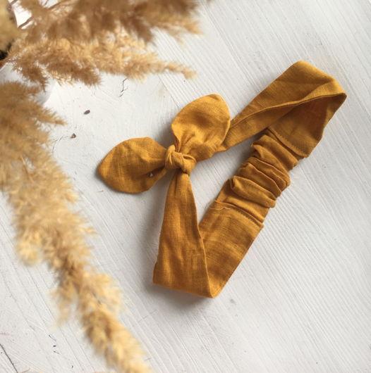 Повязка-солоха из льна в горчичном оттенке