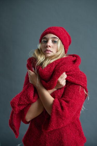 Объемный красный шарф, палантин из альпаки Vermelho