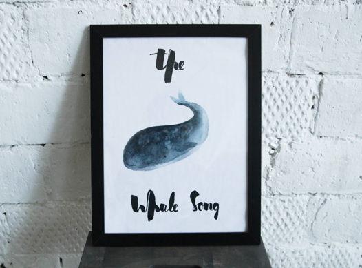 """Постер с акварельной иллюстрацией кита """"The Whale Song"""" , сказочный акварельный кит"""