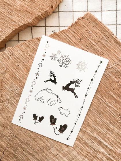 """Временные переводные татуировки MimiToo """"Рождество серебро"""" для детей и взрослых"""