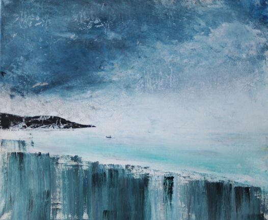 Cloudy cliffs   55х46 acrylic painting on canvas   картина, акрил