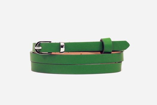 Кожаный узкий зеленый ремень