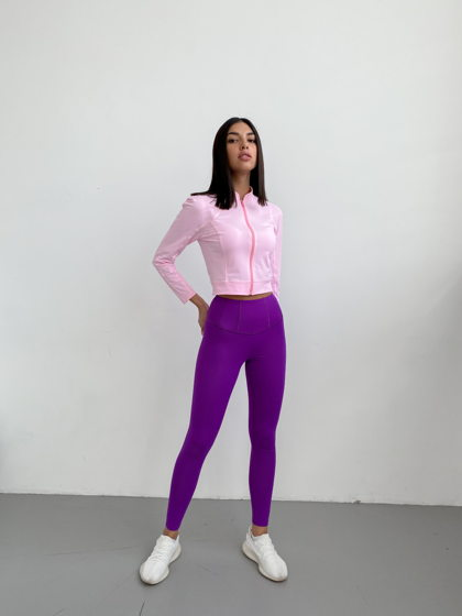 Спортивные леггинсы с широким поясом. Цвет: фиолетовый. Материал: бифлекс.
