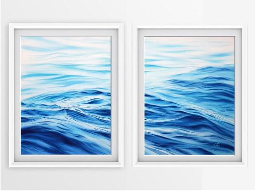 """Диптих из 2-х печатных постеров с авторской акварельной картины """"Волны"""""""