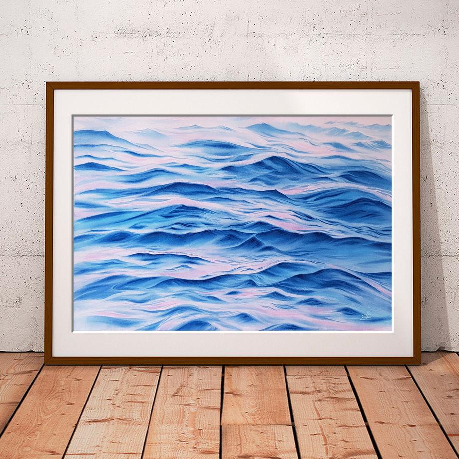 """Акварельная картина """"Волны счастья"""" (56 х 38 см)"""
