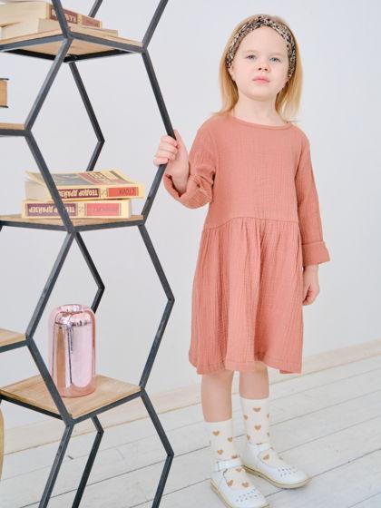 Муслиновое платье для девочки (корица)