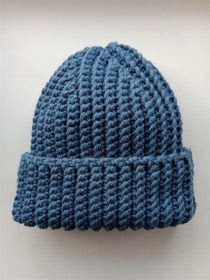 Зимняя шапка бини серо-голубого цвета