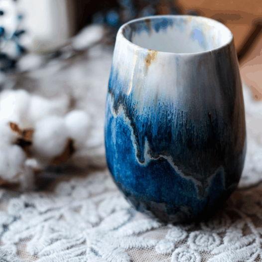 синяя морская кружка керамическая ( фарфор ) ручной работы с ручной и без
