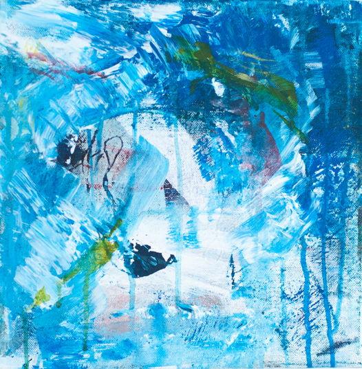 Acrylic on Canvas | 30*30 Картина, акрил на холсте, абстракция. Синяя, №9